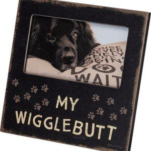 "Wooden Dog Frame My Wigglebutt Square 6"" X 6"""